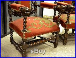 111011 Pair Of French Antique Renaissance Hunt Carved Arm Chairs