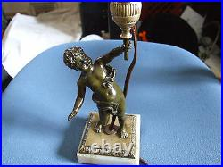 1900's Vintage French Bronze & Marble Boy Child Table Lamp. One of a Kind