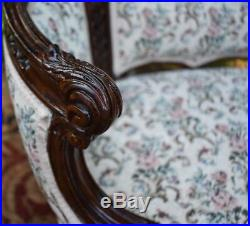 1910s Antique French carved Mahogany pair of Living room Chairs New Upholstery