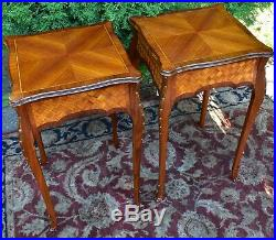 1910s Pair of Antique French Louis XV Walnut and Satinwood inlaid side Tables