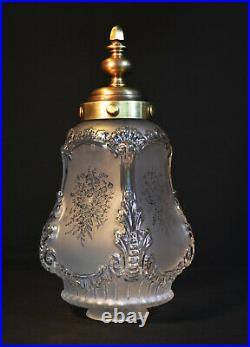 1920s French Louis XIV Versailles Style Bronze Moulded opalescent glass Lantern