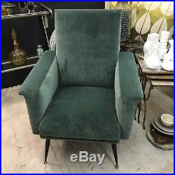 1950s Mid Century French Velvet Armchair