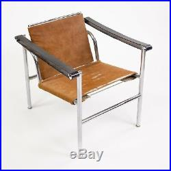 1960's Authentic Le Corbusier Cassina LC1 Basculant Lounge Chair Cowhide Marked