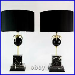 1970's PAIR OF FRENCH HOLLYWOOD REGENCY TABLE LAMPS ATTRB TO MAISON LE DAUPHIN