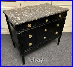 19th Century French Ebonised Empire Chest of Drawers with Marble Top