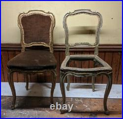 1 0f Pair Antique FRENCH Louis Shabby Chic GOLD Dusky Pink Carved Hall Chair