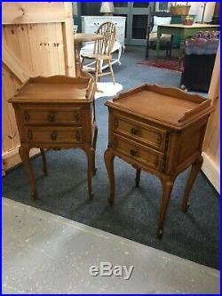 2 nightstand solid oak Louis XV French style
