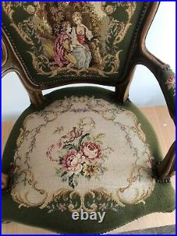2x French Needlepoint Embroidered Armchairs Antique Louis XV Style Chair
