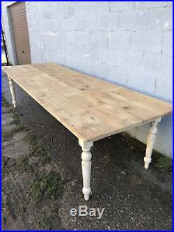 310cm Long, Antique, Pine, French Farm Table, Vintage, Original Paint, Refectory
