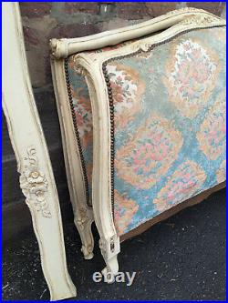 41318 ANTIQUE FRENCH Louis XV Upholstered SINGLE BED Lit de repos