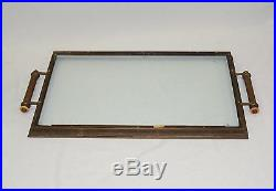 ANTIQUE 1930's FRENCH ART DECO X BASE BRASS BUTLER TABLE & SERVING TRAY