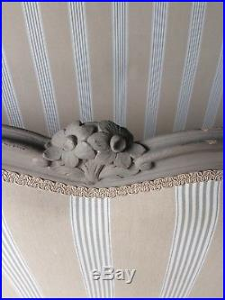 ANTIQUE FRENCH DOUBLE BED. OLD VINTAGE BED FRAME With NEW UPHOLSTERY
