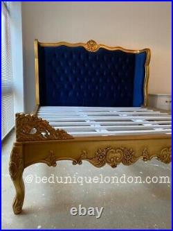 ANTIQUE GOLD, BLUE VELVET HANCARVED French Bed KING 5 FOOT BED UNIQUE LONDON