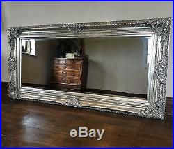 ANTIQUE SILVER GILT BOUDOIR LARGE OVERMANTLE WALL FRENCH WOOD MIRROR 5FT x 4FT