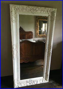 ANTIQUE WHITE CREAM ORNATE LARGE FRENCH SHABBY CHIC WOOD DRESS MIRROR 6FT x 4FT