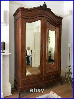 A Beautiful French Armoire / French Mahogany Wardrobe / Antique