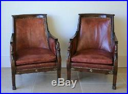 A Pair Early 20th Century French Empire Leather Library Bergere Chairs Armchairs