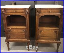 A Pair Of French Antique Pot Cupboards With Marble Tips Circa 1900 Bedside Table