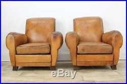 A Pair Of French Leather Club Chairs