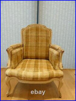 A Pair Of French Louis Style Upholstered Armchairs Antique Cream Fired Earth