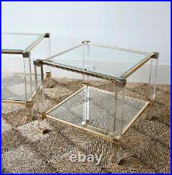 A Pair of French Pierre Vandel Paris Lucite Glass Coffee Bed Side Lamp Tables