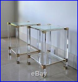 A Pair of French Pierre Vandel Paris Lucite Glass Etagere Bed Side Lamp Tables