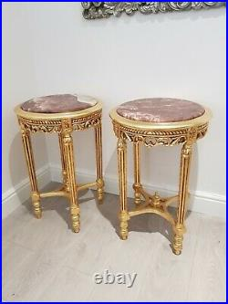 A Pair of French Style marble top bedside tables cabinets gilt gold leaf