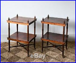 A Pair of Vintage Mahogany Brass Sofa Chair Bed Side Coffee Lamp Etagere Tables