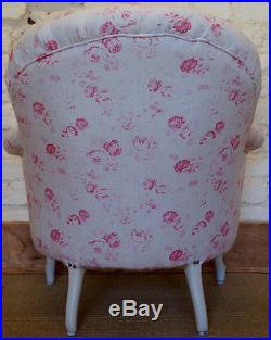 A Vintage French Louis Philippe Tub Chair in PEONY and SAGE'Charlotte