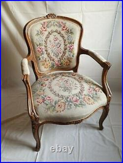 A Vintage French tapestry chair Louis style, antique salon chair, carve