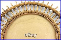A vintage 1950's bamboo starburst / sun mirror Circular French Midcentury
