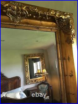Aged Gold Ornate Large French Swept Statement Over mantle Wall Mirror 5ft x 4ft