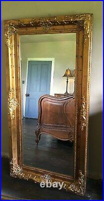 Aged Gold Ornate Large French Swept Statement Over mantle Wall Mirror 7ft x 4ft