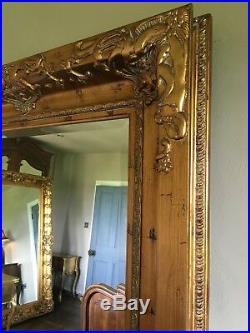 Aged Gold Ornate Large French Swept Statement Overmantle Wall Mirror 7ft x 4ft
