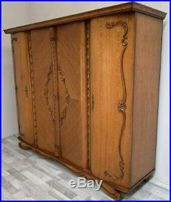 Amazing Vintage French Carved 4 door Armoire Wardrobe
