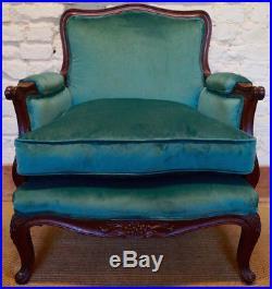 An Antique French Louis XV Bergere Armchair upholstered in Utopia Velvet