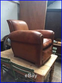 Antique 1930s French Brown Leather Club Chair