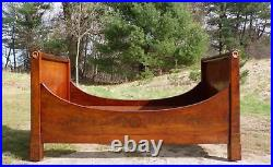 Antique 19th C French Empire Flame Mahogany Daybed Lit Bateau Twin Sleigh Bed