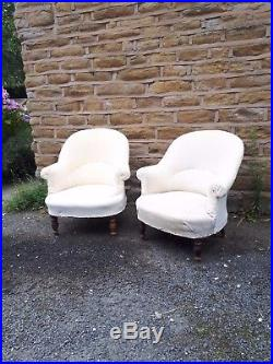 Antique 19th Century French Armchair Arm Chair Calico Napoleon Vintage