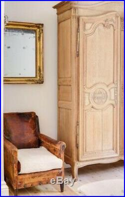 Antique 19th Century French Oak armoire wardrobe linen press with hanging rail