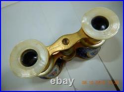 Antique 19th c. Opera Glasses Binoculars Sevres Style Blue & Gold French Enamel
