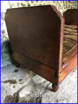 Antique Art Deco French Leather Sofa Day Bed Vintage C1930 Immaculate