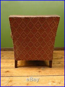 Antique Art Deco French Leather and Kilim Club Armchair from the 1930s
