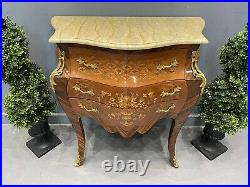 Antique Design French Chest Of Drawers Inlaid Gilt Ormolu Mounting Marble Top