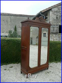 Antique French Armoire Wardrobe. Henri II Style. 2 Mirrored Doors