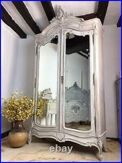 Antique French Armoire Wardrobe Linen Cupboard Painted In Weathered Grey