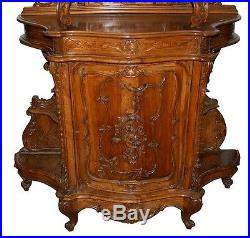 Antique French Art Nouveau Hutch Cabinet with Floral Carvings #7371