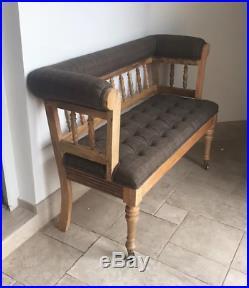 Antique French Bench Hallway Oak Window Love Seat Vintage Louis Sofa Solid Wood