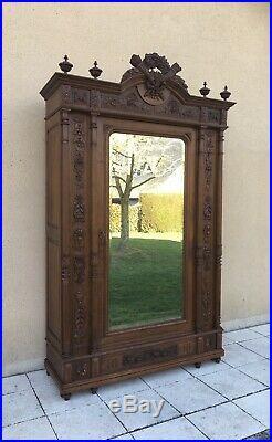 Antique French Breton Armoire Wardrobe Linen Cupboard