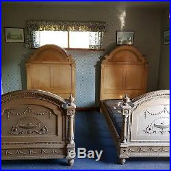 Antique French Carved Wooden Twin/ Matching Pair Single Beds